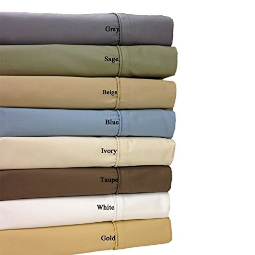 Twin-Extra-Long Blue Cotton-Blend Wrinkle-Free Sheets 650-Th