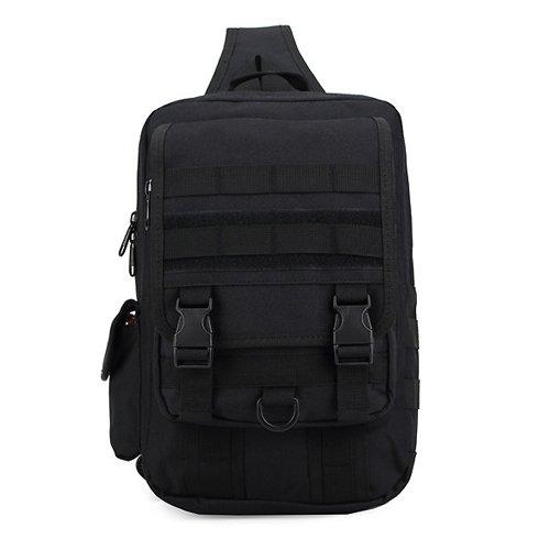 JWBB Ventiladores militar táctico de pecho grande exterior impermeable mochila deportiva Satchel Bag Bolso cruzado, fácil camuflaje solo bolso,digital ACU Negro