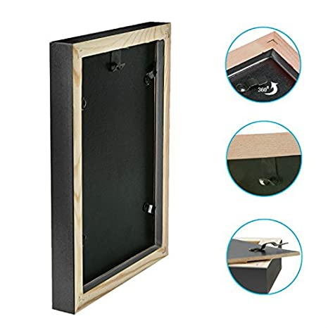 JKYUKO 16 Inch Black Wall Picture Frame Beautiful Scenery Made to Display Pictures 8x12 with Mat or 12x16 Without Mat