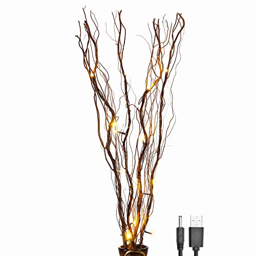Lightshare Upgraded 36Inch 16LED Natural Willow Twig Lighted Branch for Home Decoration, USB Plug-in and Battery Powered ()