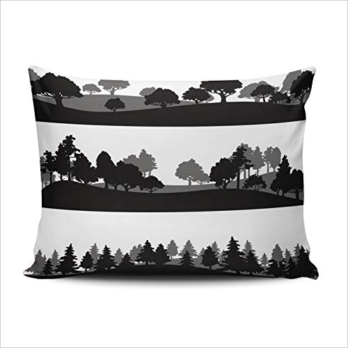 SALLEING Custom Fashion Home Decor Pillowcase Different Silhouettes of Landscape with Trees Boudoir Throw Pillow Cover Cushion Case 12x18 Inches One Sided Print