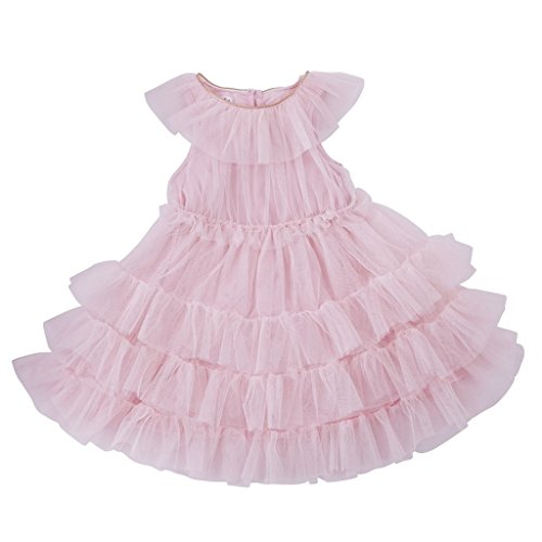 Mud Pie Baby Girls Mesh Tiered Sleeveless Dress, Pink, 4T Tiered Mesh Dress