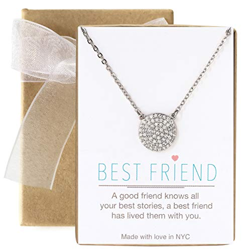 - A+O Friendship Necklace - 11MM Pave Disc Necklace in Sterling Silver