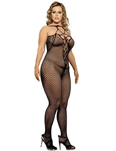 Maxde Women's Plus-Size Spandex Diamond Net Suspender Bodystocking Sexy Lingerie (5XL)