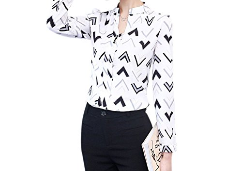 Perfect-Sense-Show 2018 Fashion Women Blouse Shirts Long Sleeve Chiffon Women's Office Blouses Print Striped Dot Lady OL Top FEMA - Epoxy Rain Dots