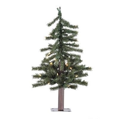 Vickerman 3' Natural Alpine Christmas Tree with 70 Clear lights