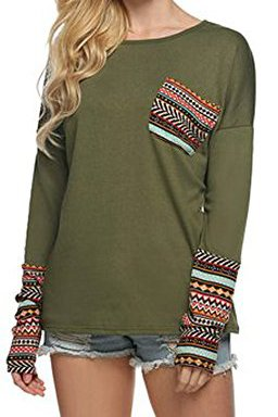 POGTMM Women Casual Soft Thumb Hole Shirts Long Sleeve Blouse Tops With Pockets(XXXL, Army Green) by POGTMM