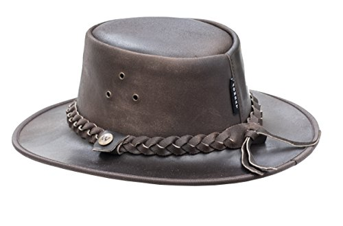 26f6c312 Wombat Outback Soft Brown Cow Hide Leather Bush Hat   Chin Strap   Rugged  Unisex Men's Woman's Size Medium: Amazon.co.uk: Clothing
