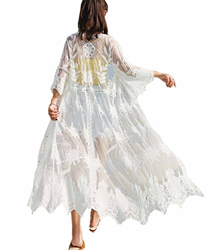 Kimono Beach Cover up Womens Summer Long Embroidered Lace Cardigan Half Sleeves White Blouse (one size, 1051)