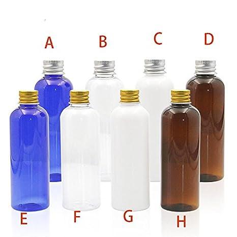 Alamor 1 Pcs 100Ml ML Botella De Plástico Completamente Transparente Pet con Oro Y Plata Botella De Loción De Cubierta De Aluminio con Junta De Viaje ...