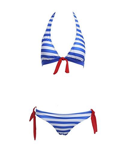 Y&L De Las Mujeres De La Raya Conjuntos De Bikini Halter Top Push Up Collar De Trajes De Baño De Playa, Trajes De Azul