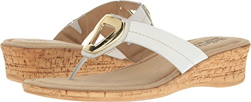 Bella Vita Women's Lou-Italy Thong Sandal,White Leather,US 6.5 M