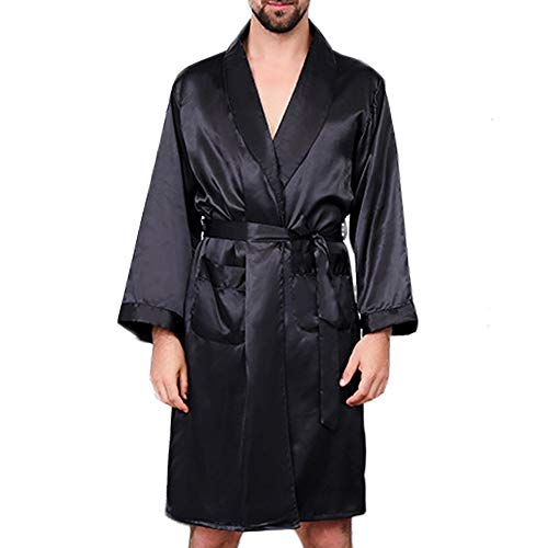 (MAGE MALE Men's Summer Luxurious Kimono Soft Satin Robe with Shorts Nightgown Long-Sleeve Pajamas Printed Bathrobes (Black01, M))