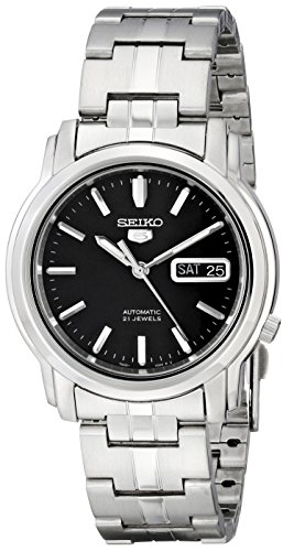 Seiko Men's SNKK71 Seiko 5 Automatic Stainless Steel Watch with Black Dial - Automatic Watch Stainless Steel Band