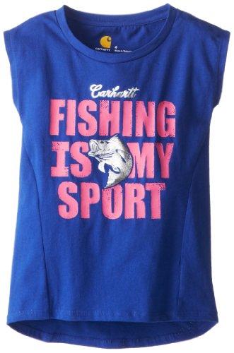 (Carhartt Little Girls' Fishing Is My Sport Cap Sleeve T-Shirt, Blue, 4)