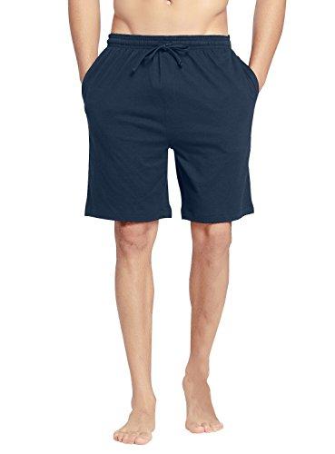 CYZ Men's Comfort Cotton Jersey Shorts with Pockets-Navy-L -