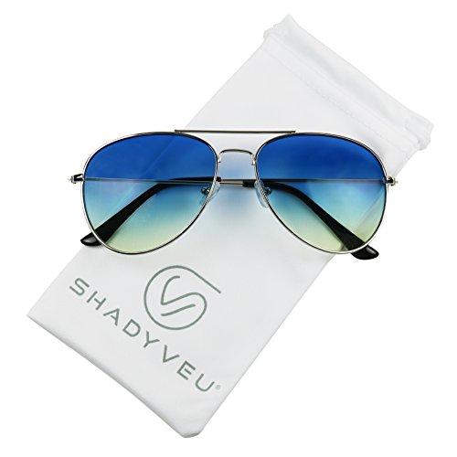 8086b287c718e ShadyVEU - Rare Oceanic Gradient Two Tone Colored Pilot Aviator Metal  Teardrop Sunglasses (Silver Frame