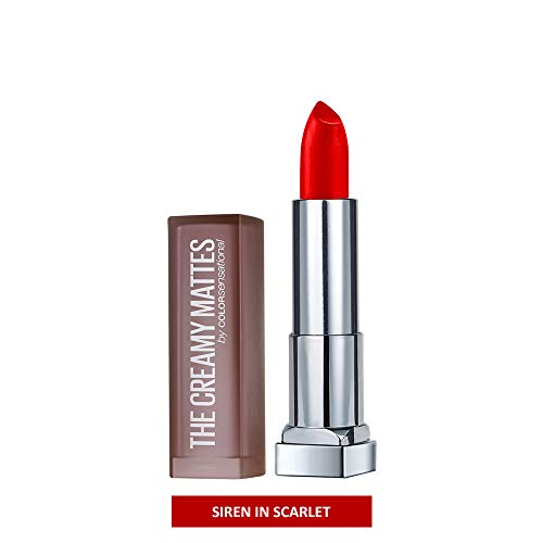 Red Pure Lipstick - Maybelline New York Color Sensational Red Lipstick Matte Lipstick, Siren in Scarlet, 0.15 oz