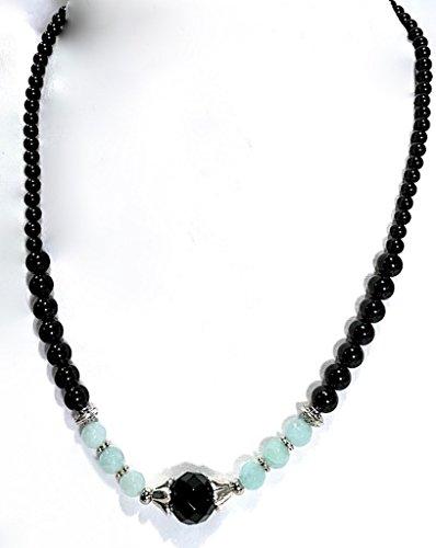 Handmade Black Onyx, Aqua Dyed Snow Quartz and Black Tourmaline Stretch Healing Necklace 17 inches