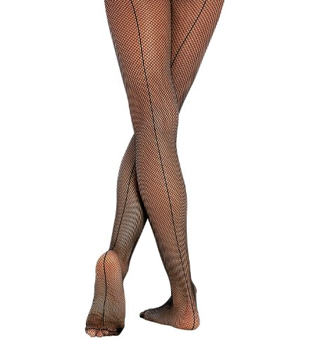 Body Wrappers A62 Women's Seamed Fishnet Tights (Small/Medium, Black) (Tights Nylon Wrapper)