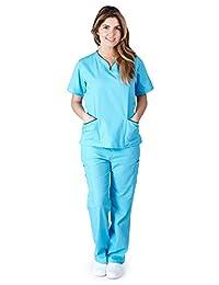 Natural Uniforms Womens Contrast Trim Scallop Scrub Set