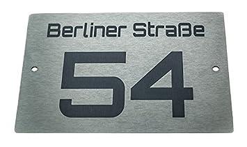 Hausnummernschild número de casa de diseño de acero inoxidable con número deseado & nombre de la calle