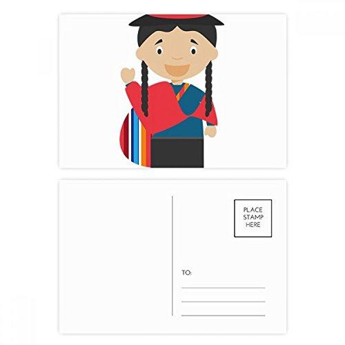 Red Blue Ecuador Cartoon Postcard Set Birthday Thanks Card Mailing Side 20pcs