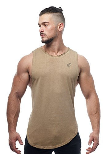 Cotton Performance Muscle Shirt (Jed North Muscle Stringer Workout T-Shirt Muscle Tee Bodybuilding Tank Top,Brown,X-Large)