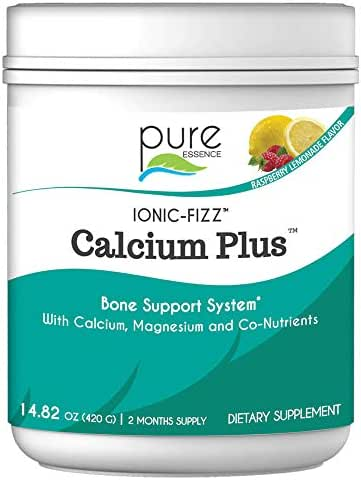 Pure Essence Labs Ionic Fizz Calcium Plus – Perfect Calcium/Magnesium Ratio with Every Co-Factor Needed for Strong Bones - Raspberry Lemonade - 420 Grams
