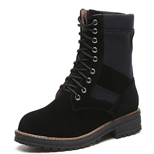 AllhqFashion Women's Lace-up Low-Heels Imitated Suede Solid Low-top Boots, Black, 37