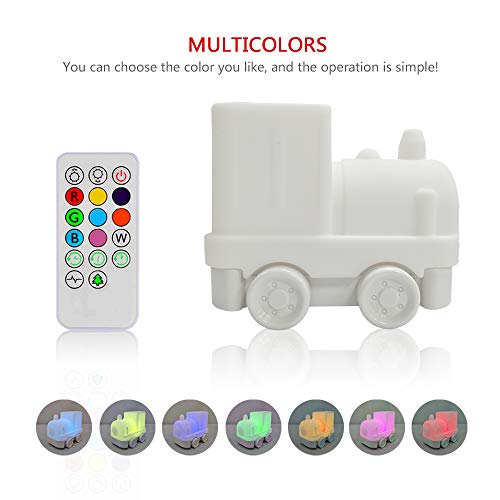 Night Light for Kids, YHTechnology Soft Silicone Locomotive Train Baby Nursery Lamp with Sensitive Tap and Remote Control, LED Besides Lamp with Multicolor Best Gift for Children