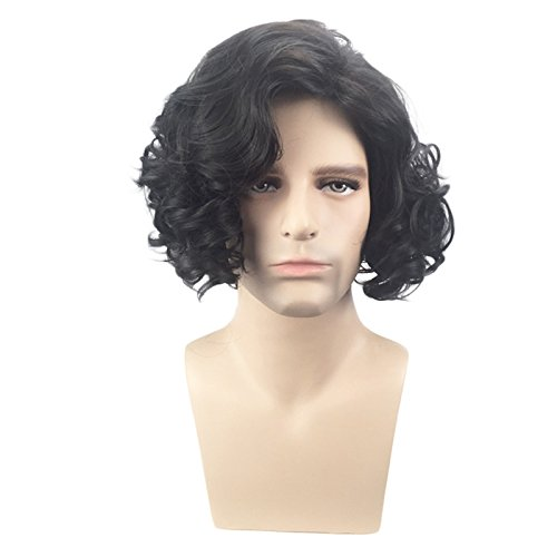XIAOWEIBA Men's Black Short Fluffy Curly Wig Halloween Cosplay Wig Anime Costume Party Wig]()