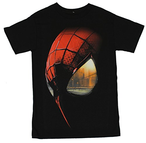Spider-Man Mens T-Shirt - Giant Spidey Face With Cityscape in His Eye (Extra Large) Black (T Shirt Spiderman)