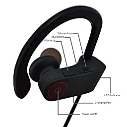 Bluetooth Headphones, Hussar Magicbuds Best Wireless Sports Earphones with Mic, IPX7 Waterproof, HD Sound with Bass, Noise Cancelling, Secure Fit, Long battery life for iPhone Android (Upgraded)