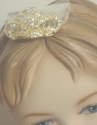 Gold Plated with Sparkling Rhinestone Crystals Loaded Tiara on Comb