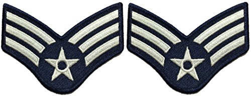 Set 2 of Senior Airman Blue and Silver Large US Air Force USAF CHEVRONS Rank Military U.S. Army Morale Applique Embroidered Sew Iron on Emblem Badge Patch (RR-USAF-CHEV-SENR-0001-SET2)
