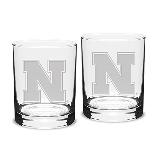 - University Glass NCAA Nebraska Cornhuskers Adult Set of 2-14 oz Double Old Fashion Glasses Deep Etch Engraved, One Size, Clear