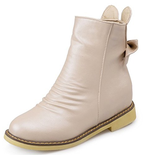 Boots Hidden With Booties Zipper Low Bows IDIFU Beige Ankle Sweet Womens Heels Side qvWC8wt