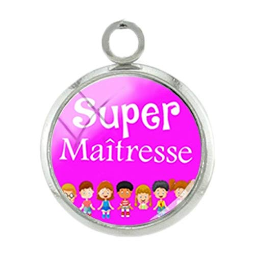 Pendants -1Pc French Super Teachers Pendants Charms Students Handmade Silver Plated 12Mm Glass Fashion DIY Women Gift Jewelry - H135