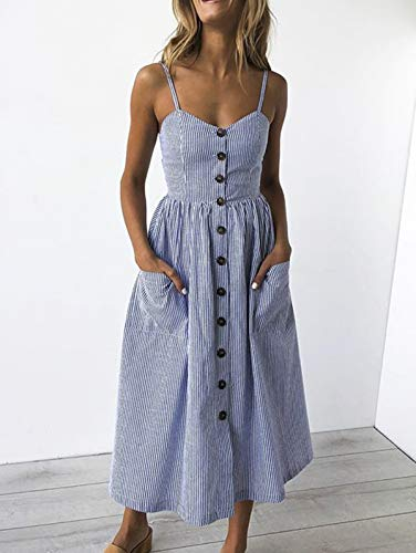 SWQZVT Women's Dress Summer Spaghetti Strap Sundress Casual Floral Midi Backless Button Up Swing Dresses with Pockets Dark Blue Striped ()
