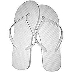 Wholesale Ladies 72 Pairs Solid White Flip Flops