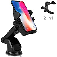 Car Phone Mount, Ptuna Car Mount, Adjustable and Universal Windshield Dashboard with One-Touch Design Car Phone Holder for iPhone X 8/8s/7/7Plus/5s/6s/6 Plus, Galaxy S8/S8 Plus/S7 Edge - Black