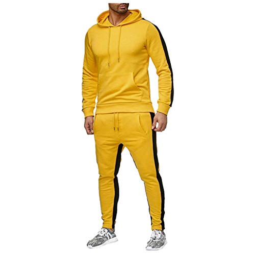 Mens Tracksuit Set Sports Gym Training Suits Sportswear Sets Warm Up Tracksuit Sports Set with Pocket(Yellow, L)