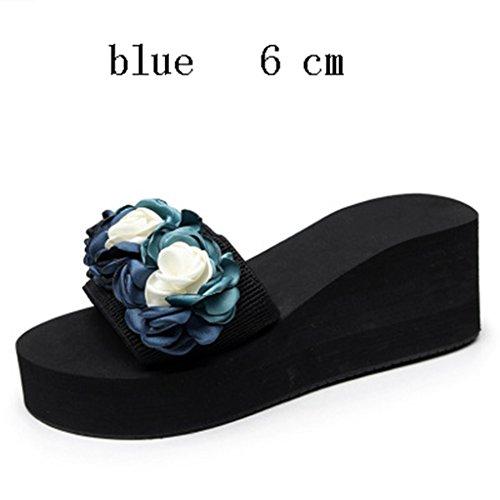 Scivolo Ciabatte blue 6CM Anti prape Pantofola Nuovo Il Infradito Fiore gBxURqSwXY