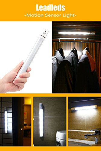 3-Pack Leadleds 5-LED Motion Sensor Light, Battery Operated Closet Light With Magnetic Strip Stick On Anywhere, Auto/ON/OFF Switch Portable Night Light for Kids, Cabinet, Hallway, Stairs by Leadleds (Image #5)