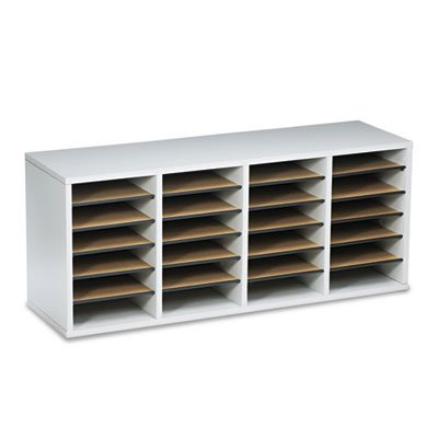 Wood/Laminate Literature Sorter, 24 Sections, 39 1/4 x 11 3/4 x 16 3/8, Gray, Sold as 1 ()