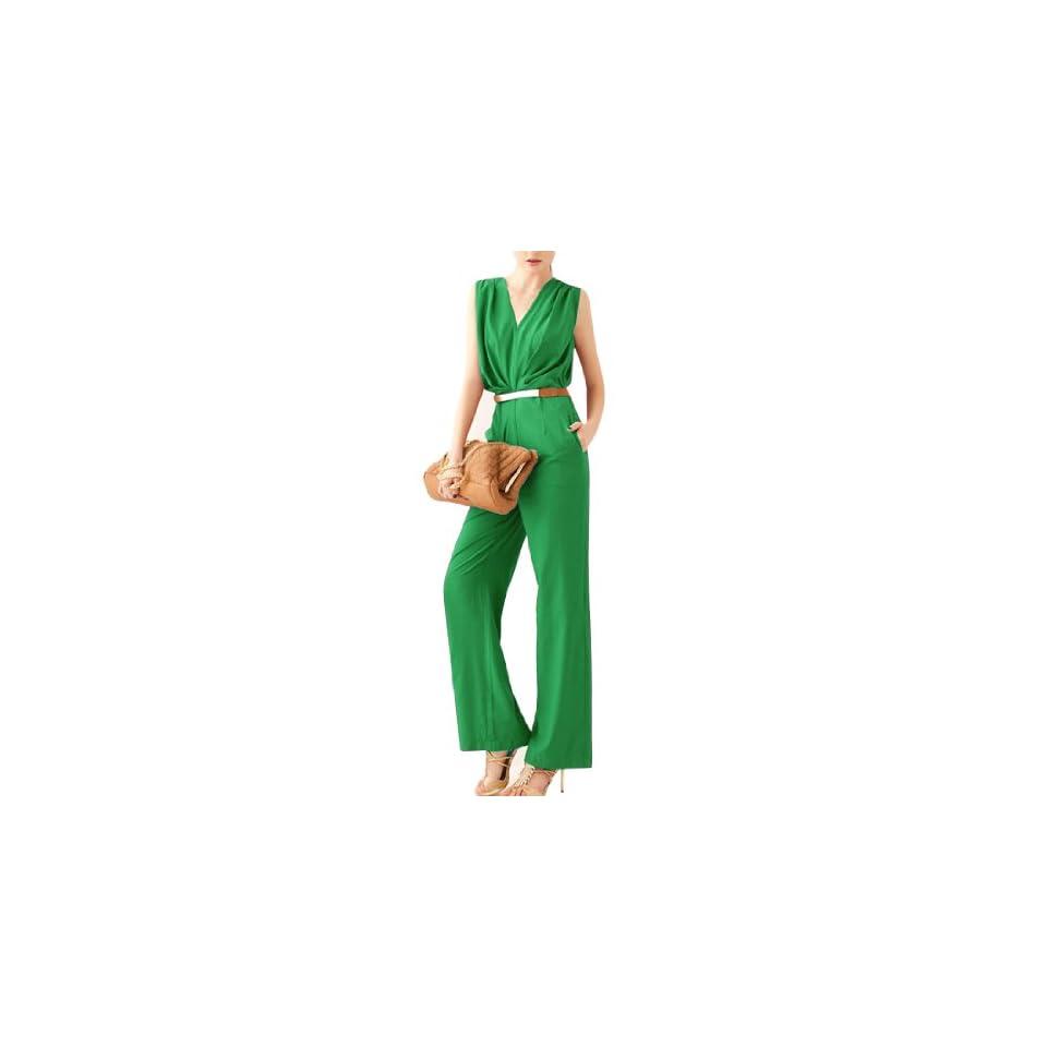 Women V Neck Sleeveless Design Solid Color Casual Elegant Jumpsuit