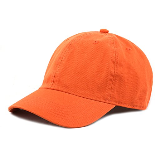 The Hat Depot Kids Washed Low Profile Cotton and Denim Plain Baseball Cap Hat (6-9yrs, Orange) ()