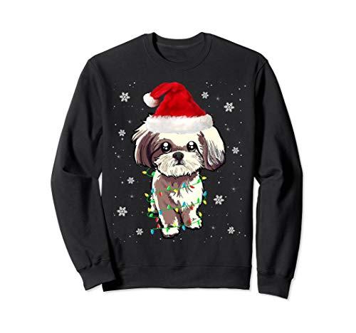 Shih Tzu Christmas Light Cute Santa Shih Tzu Xmas Pajama Sweatshirt (Shih Tzu Christmas Sweater)