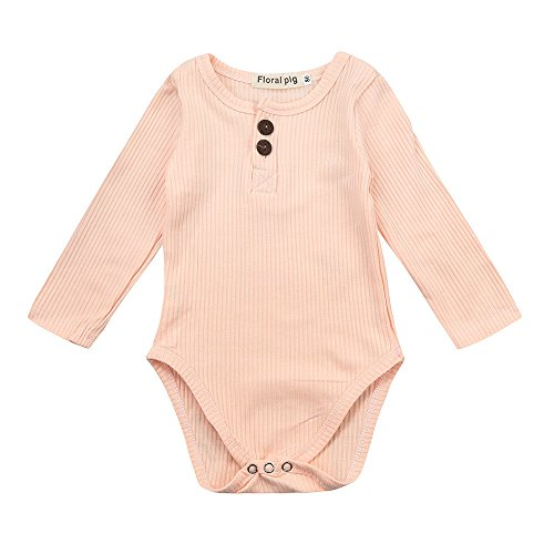 Birdfly Newbown Baby Ribbed Knit Sweather Rompers Bodysuit Long Sleeves Onesies Solid Pastel Casual Fall Winter Outfits (6M, (Free Spirit Check Dress)